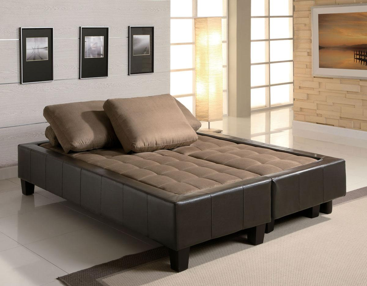 Fulton Contemporary Sofa Bed Group with 2 Ottomans in Tan (Clearance Sale) - Fulton Contemporary Sofa Bed Group With 2 Ottomans In Tan
