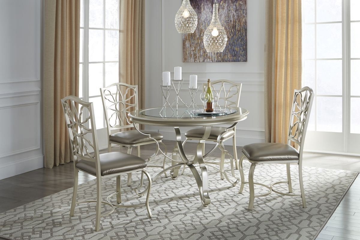 Shollyn Silver Round 5 Pc Dining Room Set Free Shipping