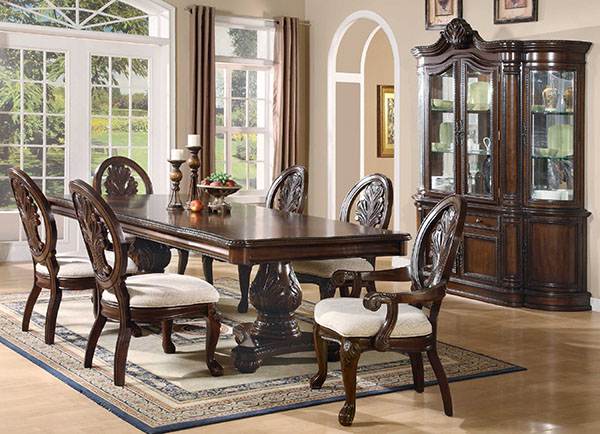 Tabitha 7 Piece Formal Dining Room Set In Deep Rich Cherry Finish Marjen Of