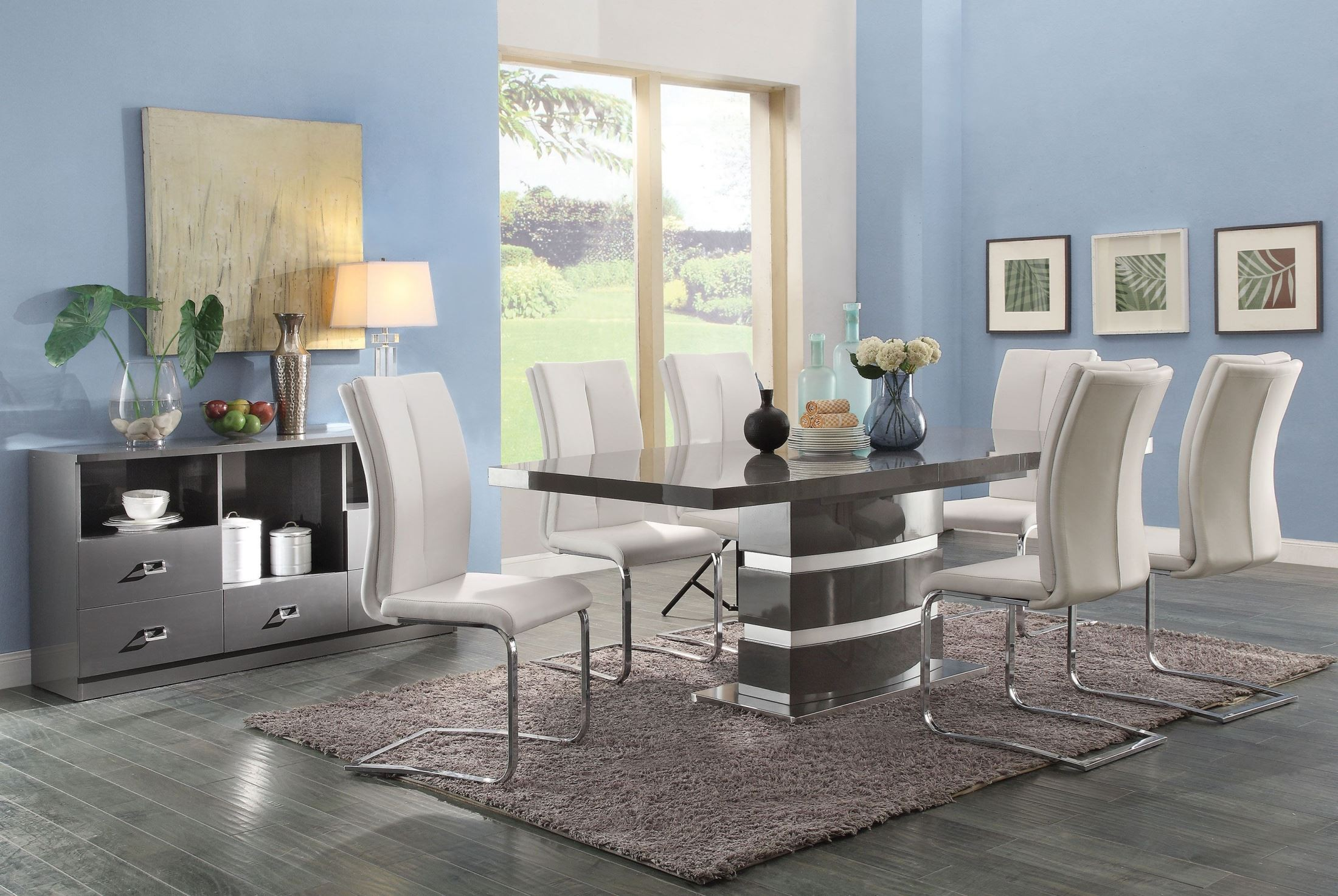 Lowry 7 Piece Dining Table Set High Gloss Taupe And Metal Chrome Dining Table With 6
