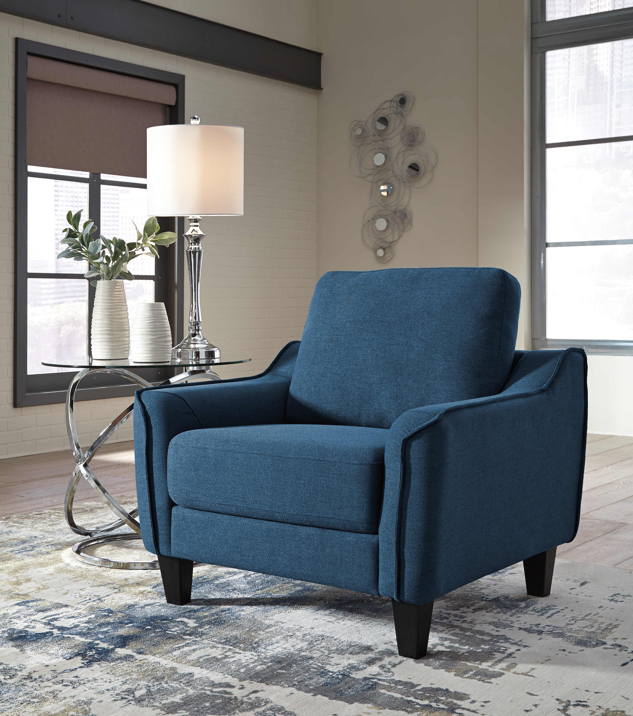 Cheap Furniture Delivered: Jarreau Blue Sofa Chaise Sleeper FREE DELIVERY!