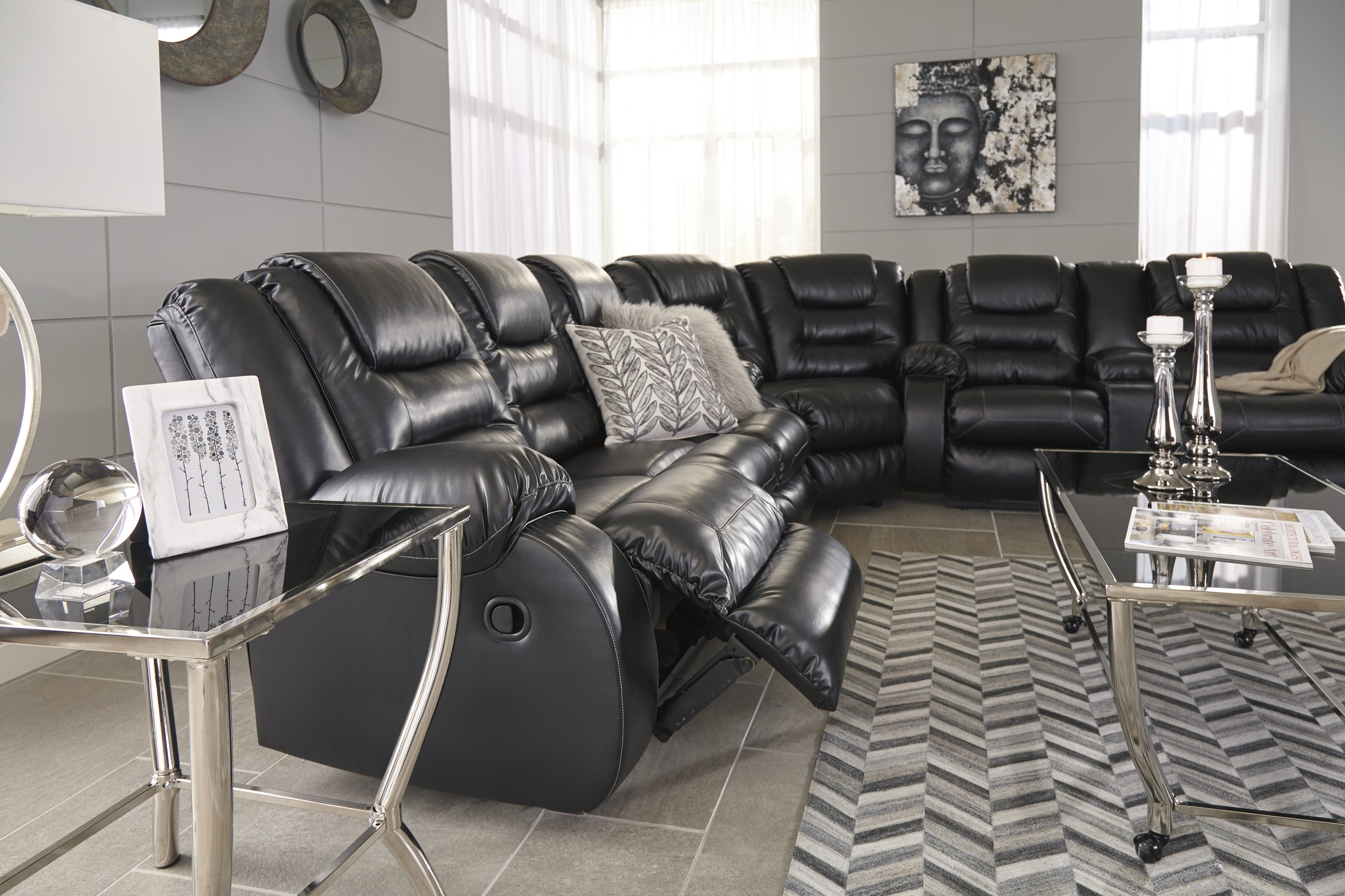Vacherie 3 Piece Black Reclining Sectional Free Shipping