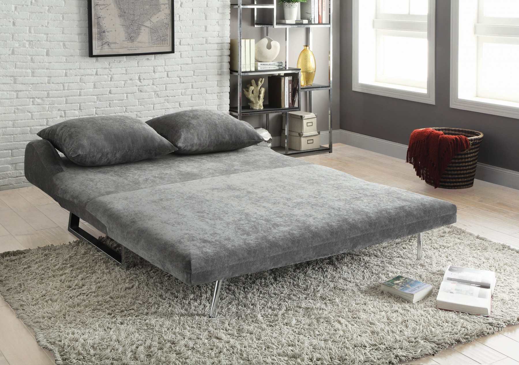 ... Back Design Adds A Touch Of Glamour To This Sofa And Bed Combo. The  Three Position Sofa Converts In A Snap From Standard Sofa To Sofa With Chaise  Lounge ...