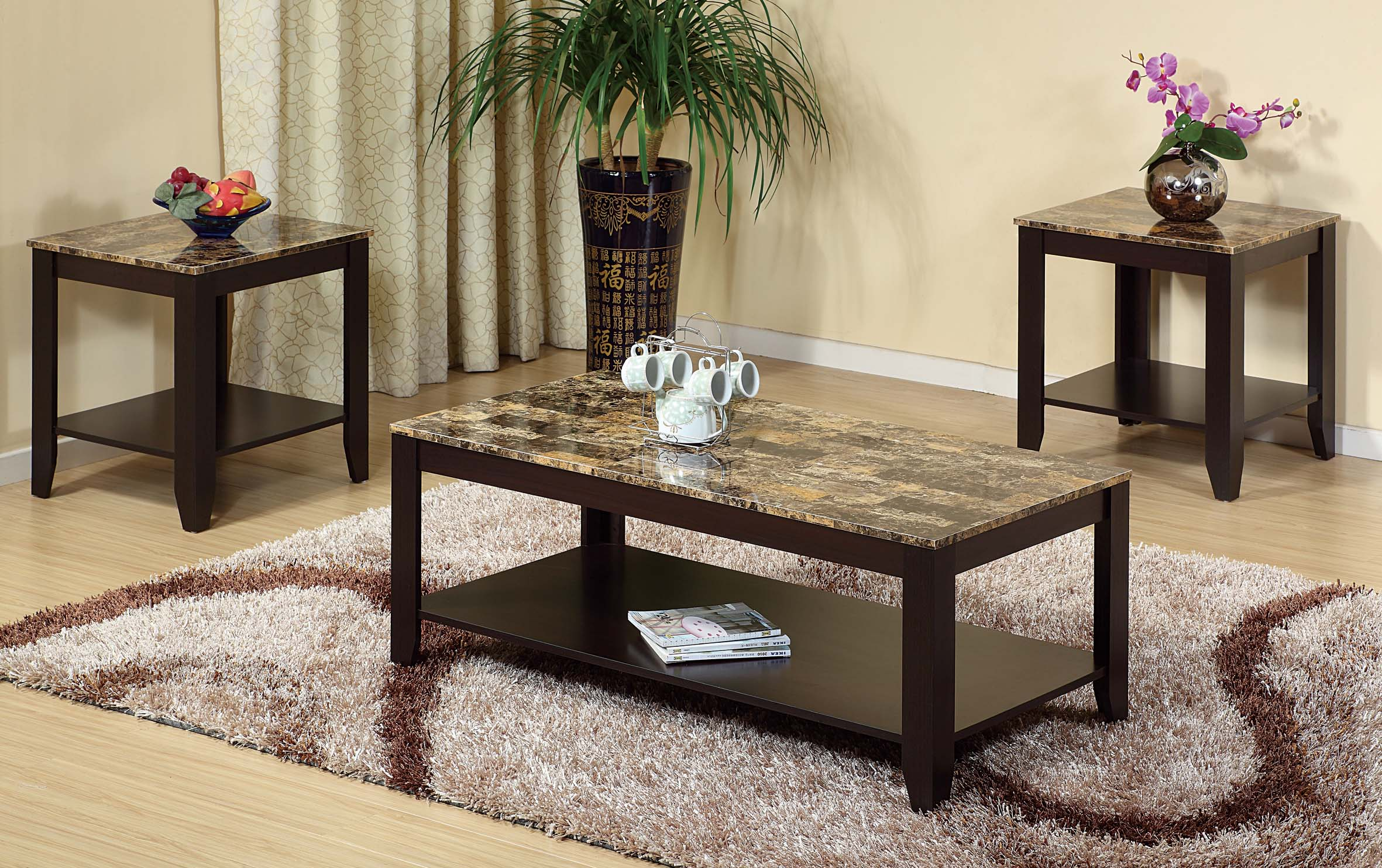 3pc Faux Marble Coffee & 2 End Tables