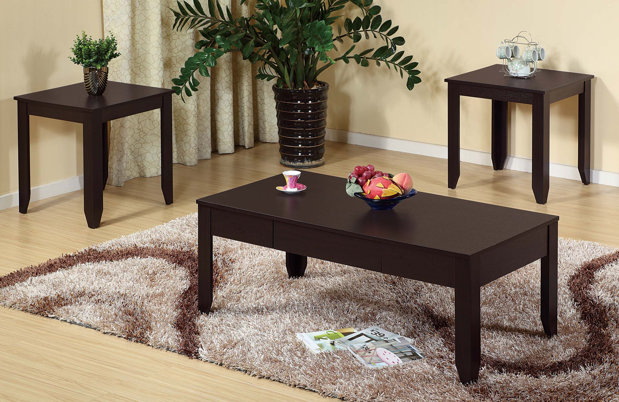 3pc Coffee End Tables Coffee Table Offers One Drawer On Metal Glides Marjen Of Chicago