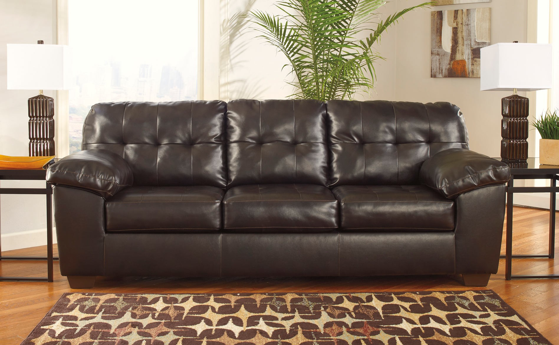 Alliston durablend chocolate sofa same or next day for Affordable furniture delivery