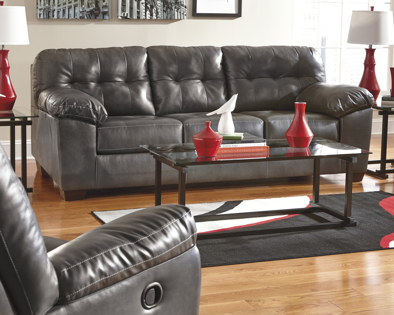 Ashley Alliston Gray Leather Blend Modern Sofa And Loveseat Marjen Of Chicago Chicago