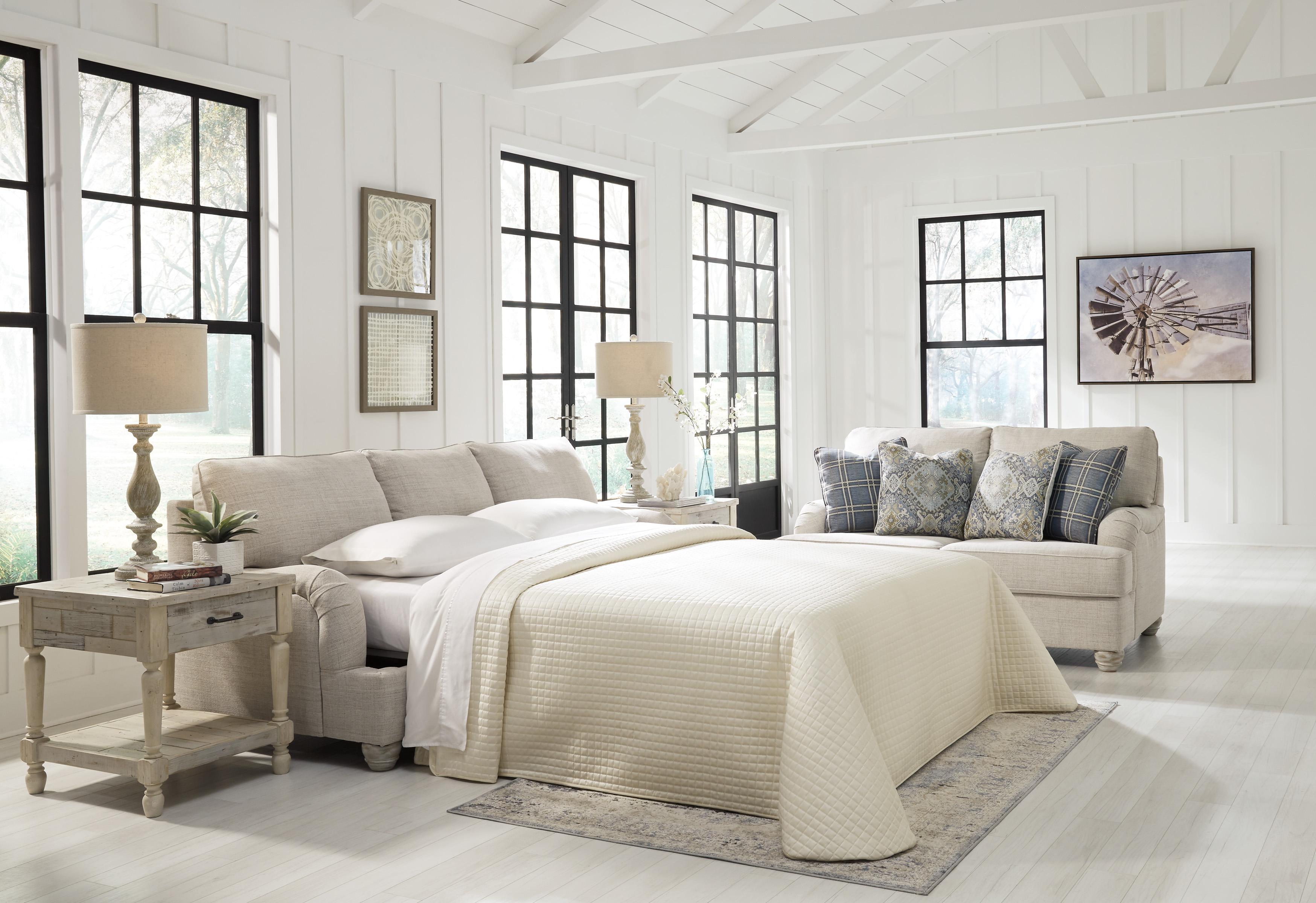 Traemore Linen White Queen Sofa Sleeper Marjen Of Chicago Chicago Discount Furniture