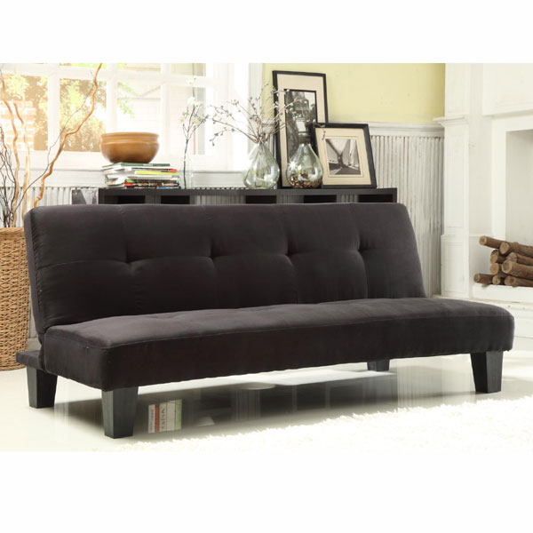 Black Microfiber Tufted Mini Sofa Bed Lounger (CLEARANCE