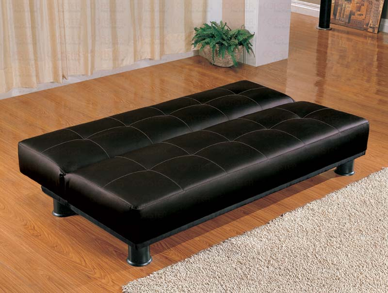 Faux Leather Modern Convertible Black Sofa Bed Marjen Of Chicago - Marjen furniture