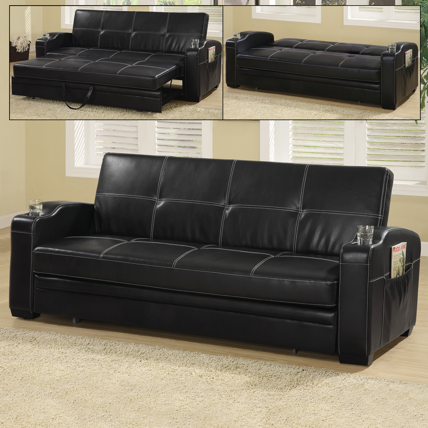 Cheap Faux Leather Sofa: Faux Leather Sofa Bed With Storage And Cup Holders