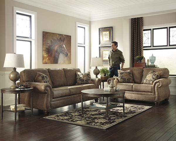 Brown Leather Look Couch