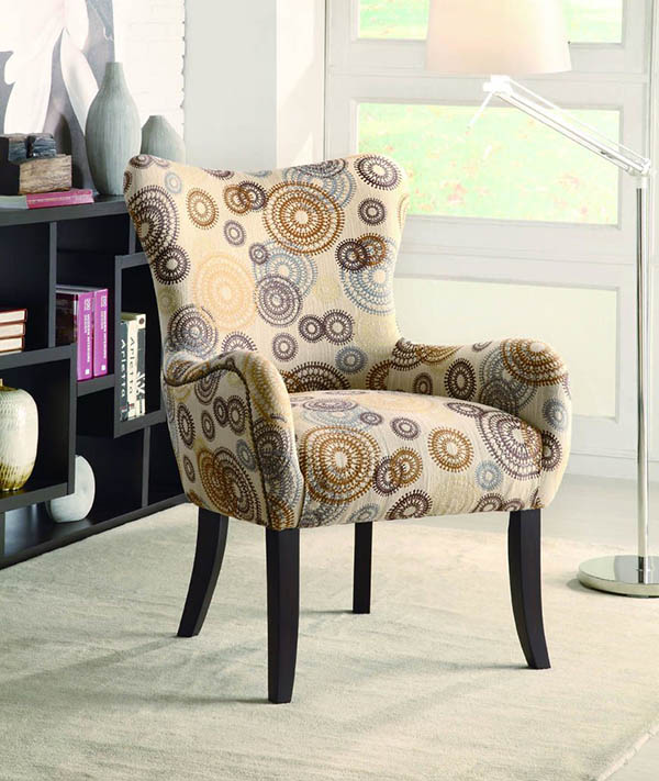 Plush Patterned Accent Chair Beige Circles Marjen Of