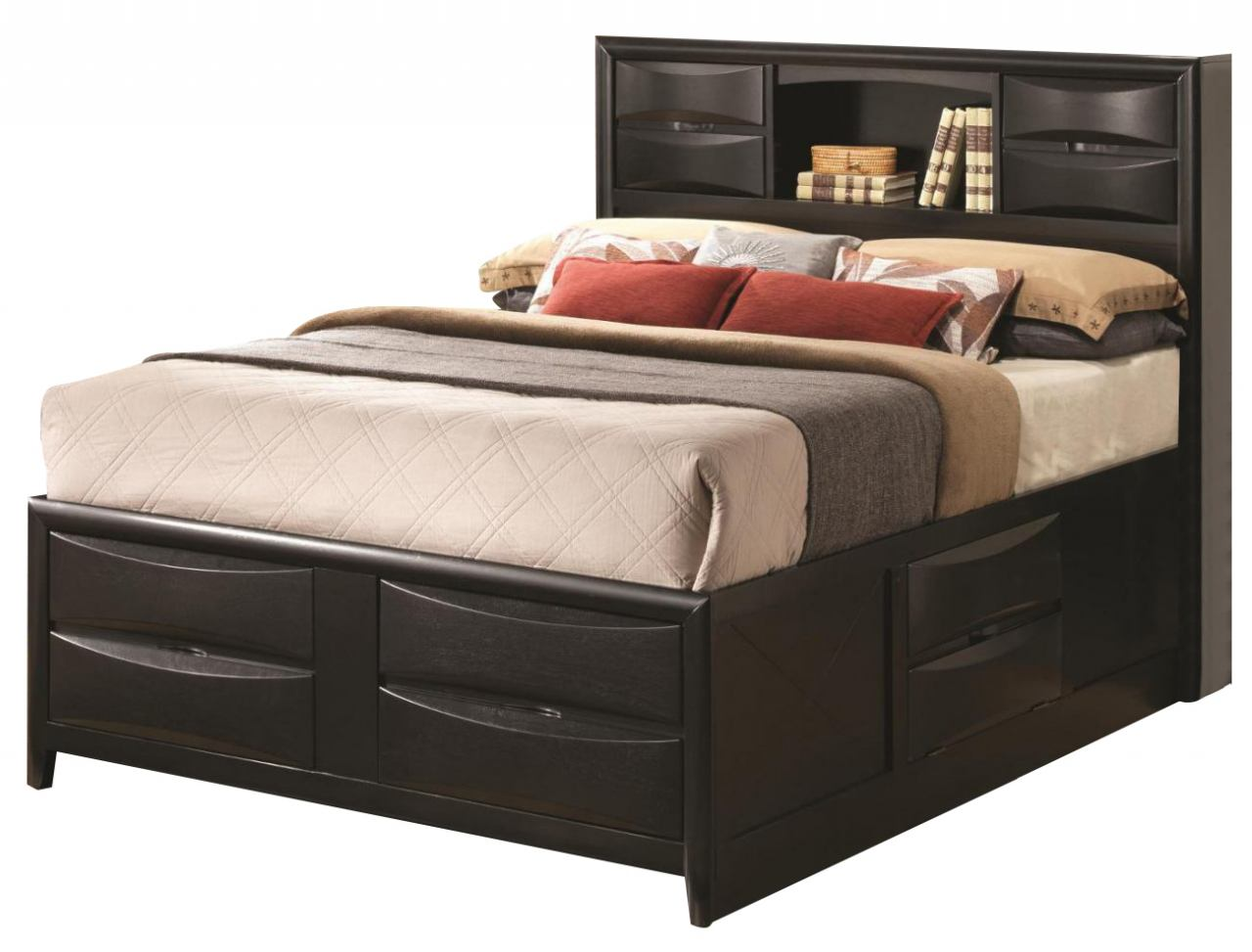 Briana Queen Storage Bed With Bookcase Headboard Marjen