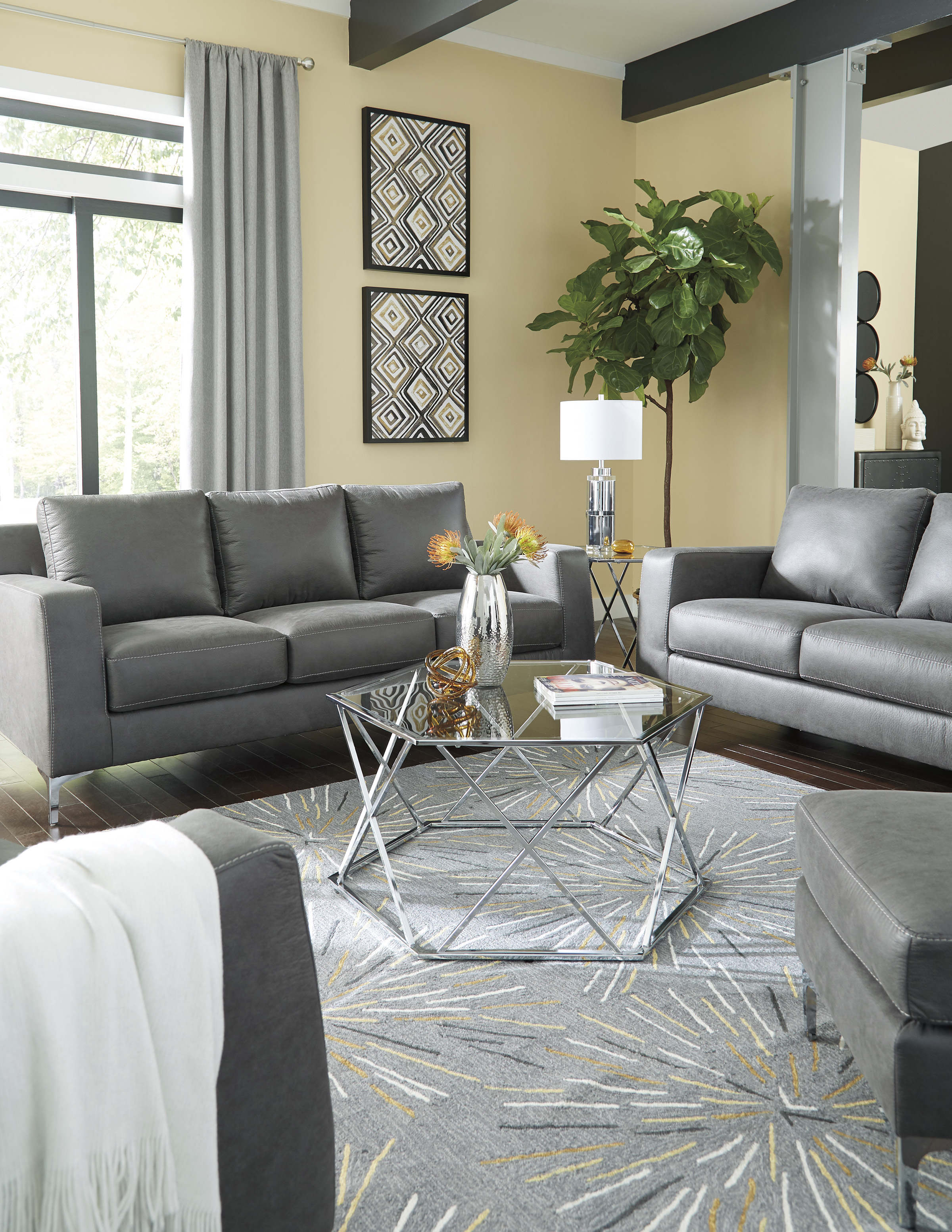Ryler Charcoal Sofa And Loveseat Living Room Set
