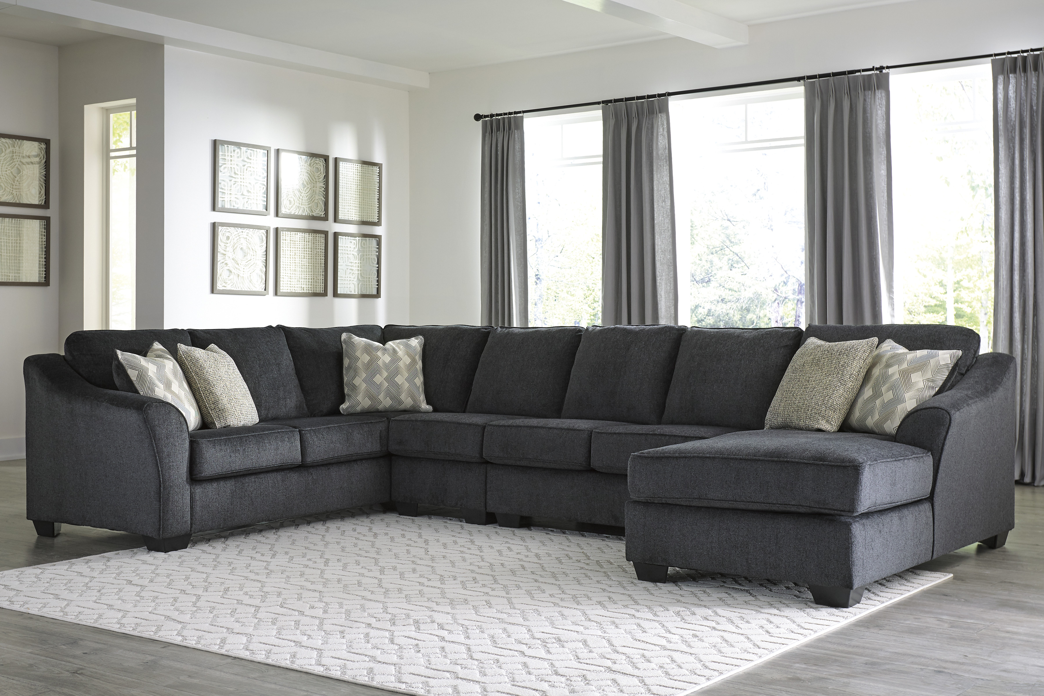 Eltmann Slate Sectional With Corner Chaise Left Or Right