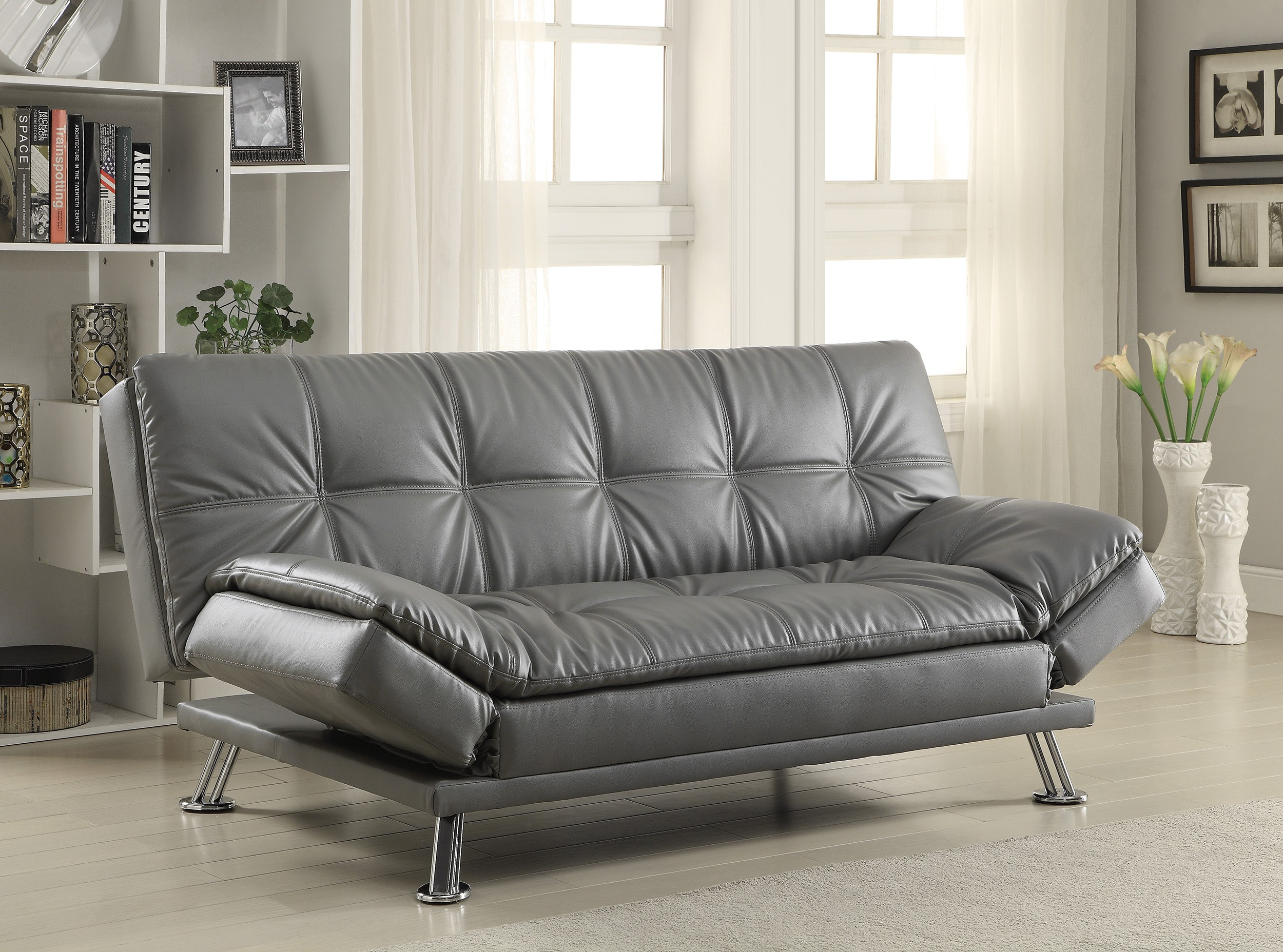 Attractive Sofa Bed Grey With Available Matching Chaise And Storage Ottoman Images