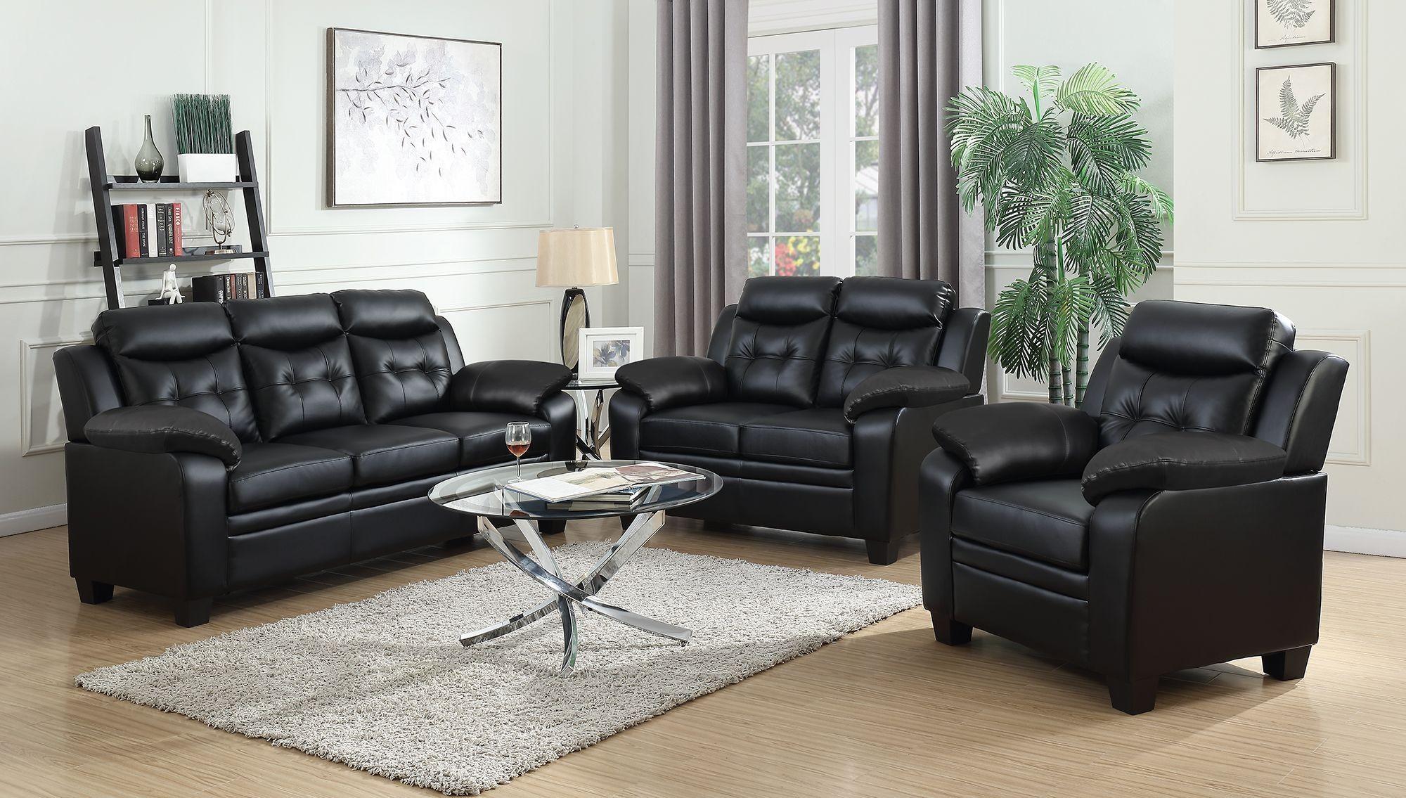 Finley Black Leatherette 2 Piece Sofa Loveseat Set Marjen Of