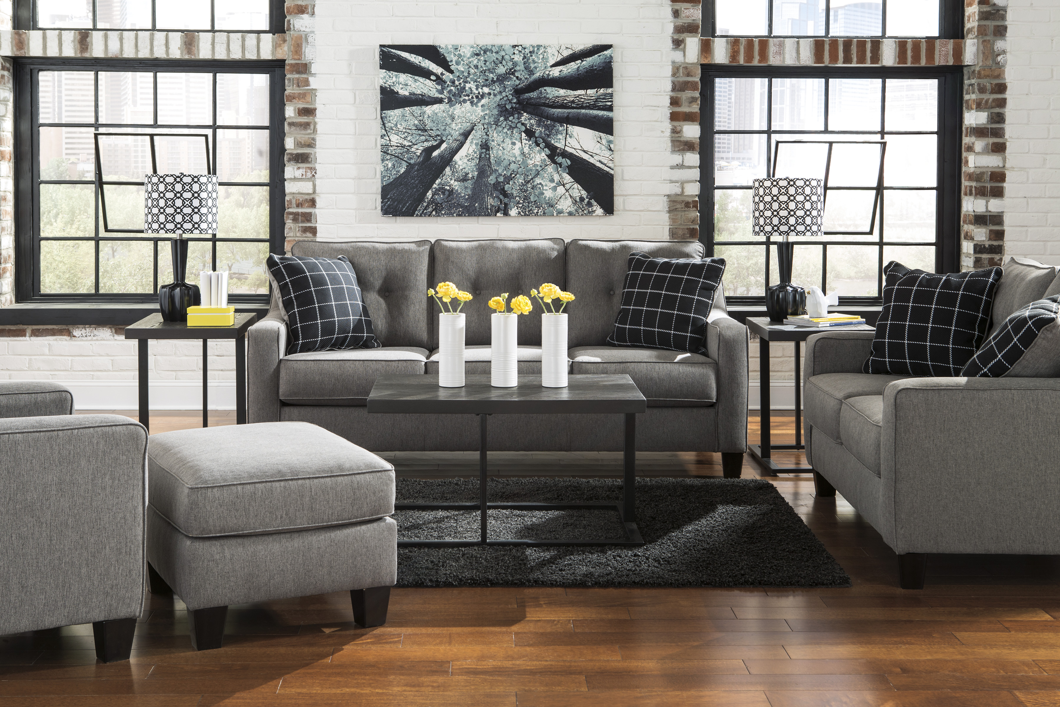 Signature Design By Ashley Brindon Charcoal 2 Piece Living Room Set