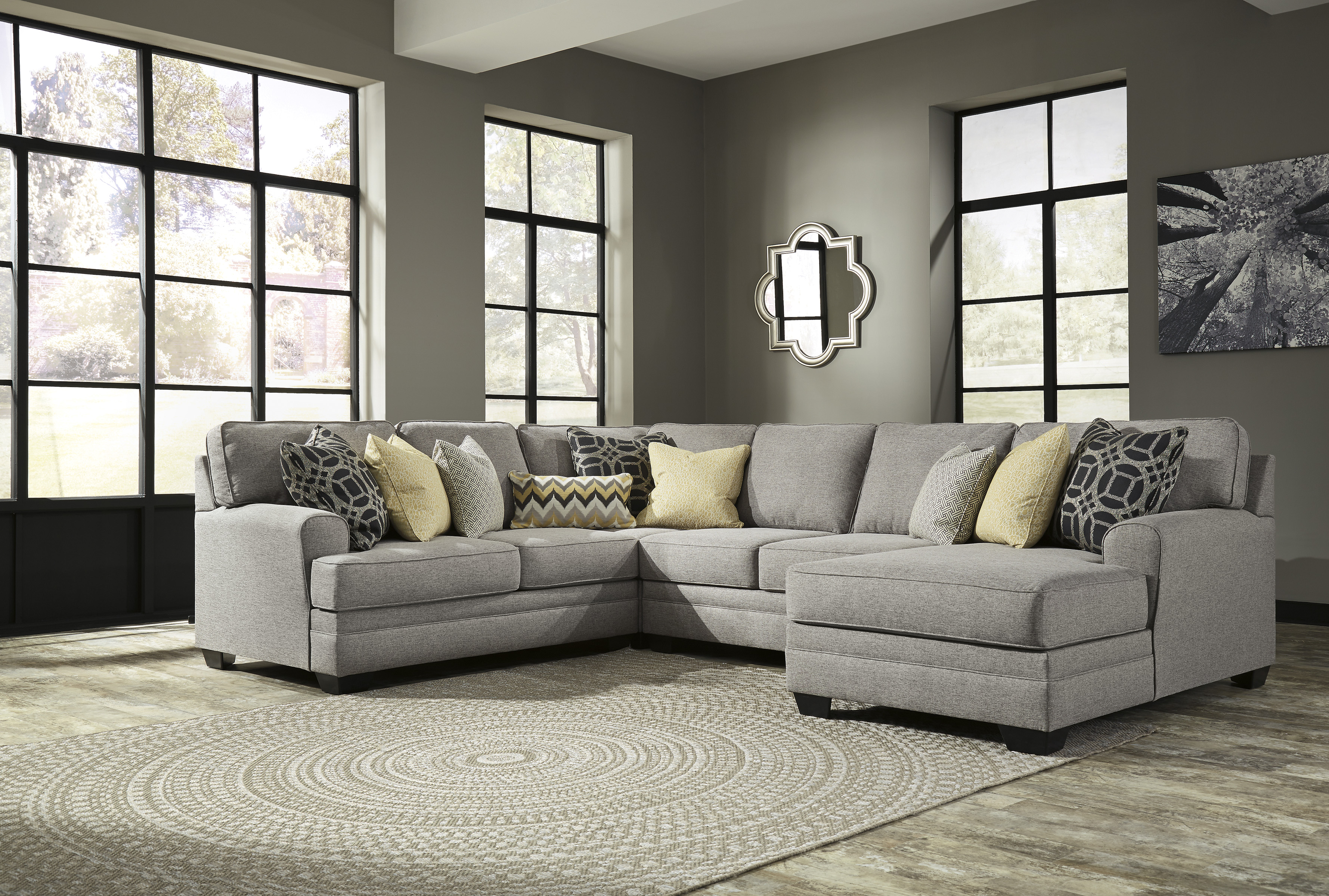 Cresson Pewter Raf Or Laf 4 Piece Chaise Sectional