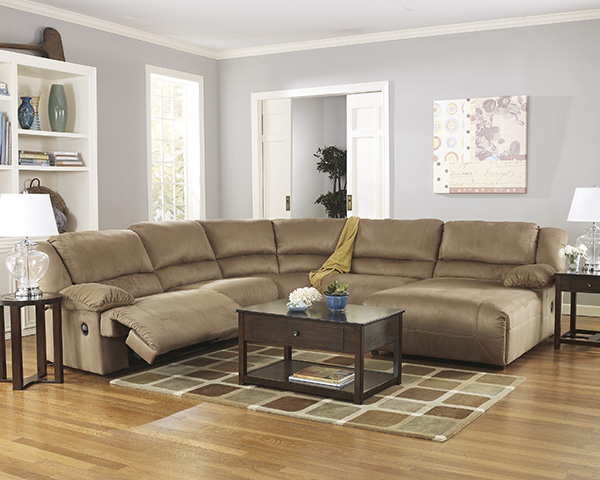Hogan Mocha Reclining Sectional Sofa With Left Or Right