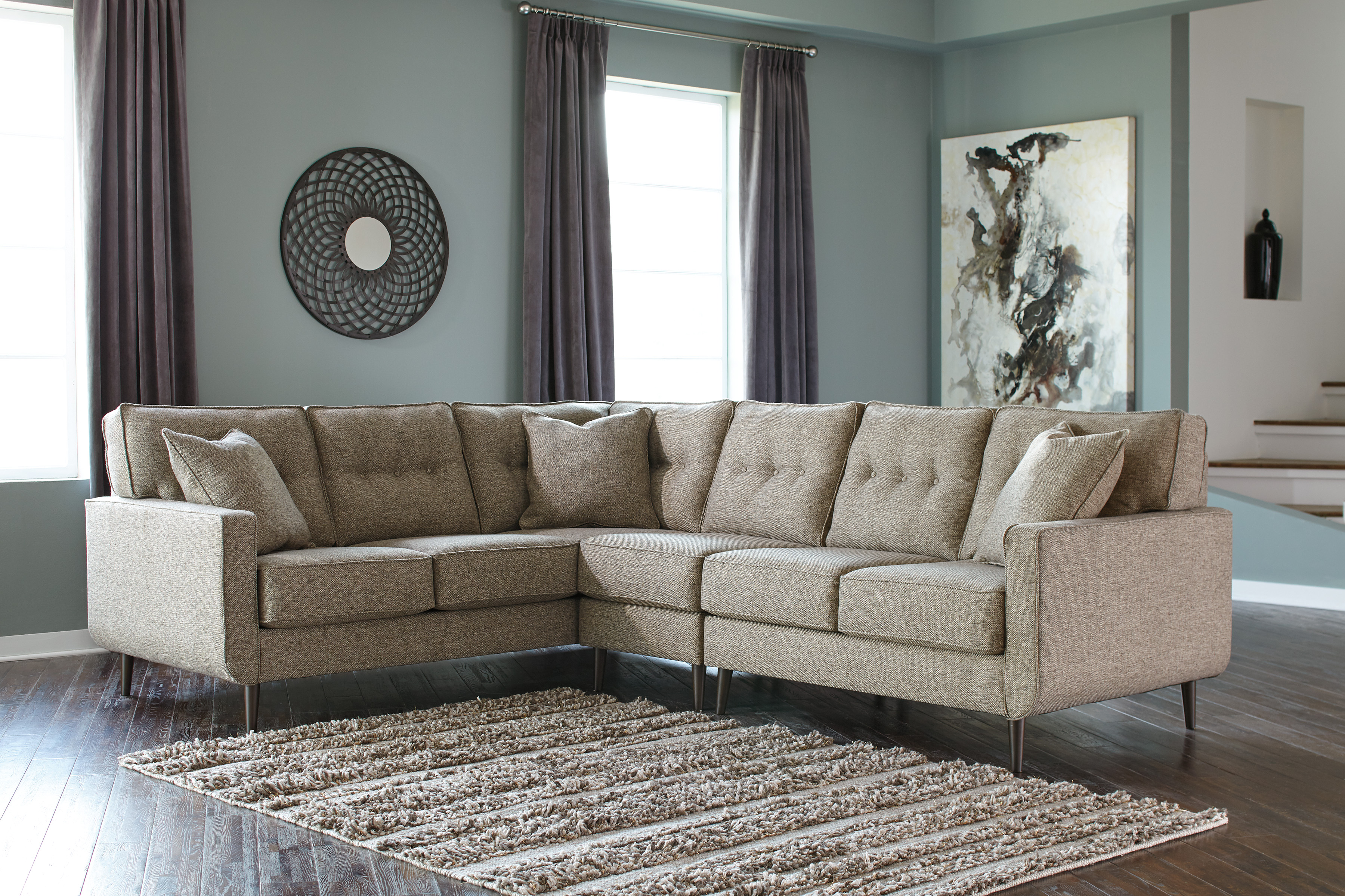 Chento Jute Raf Or Laf 3 Piece Sectional Marjen Of