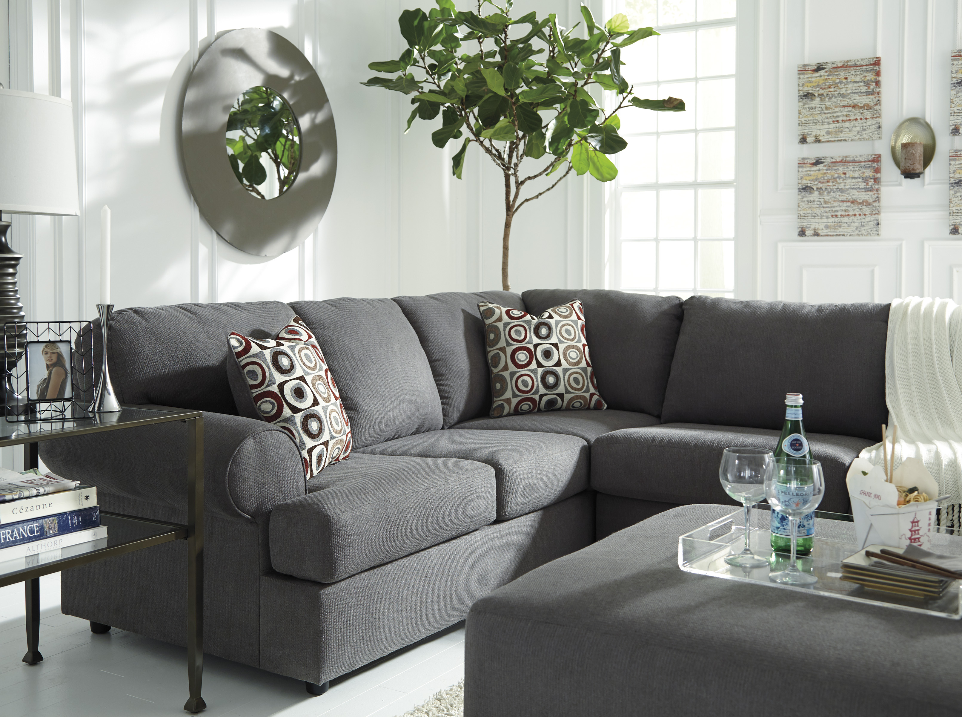 Jayceon Steel Sectional With Right Or Left Side Chaise With Free - Marjen furniture