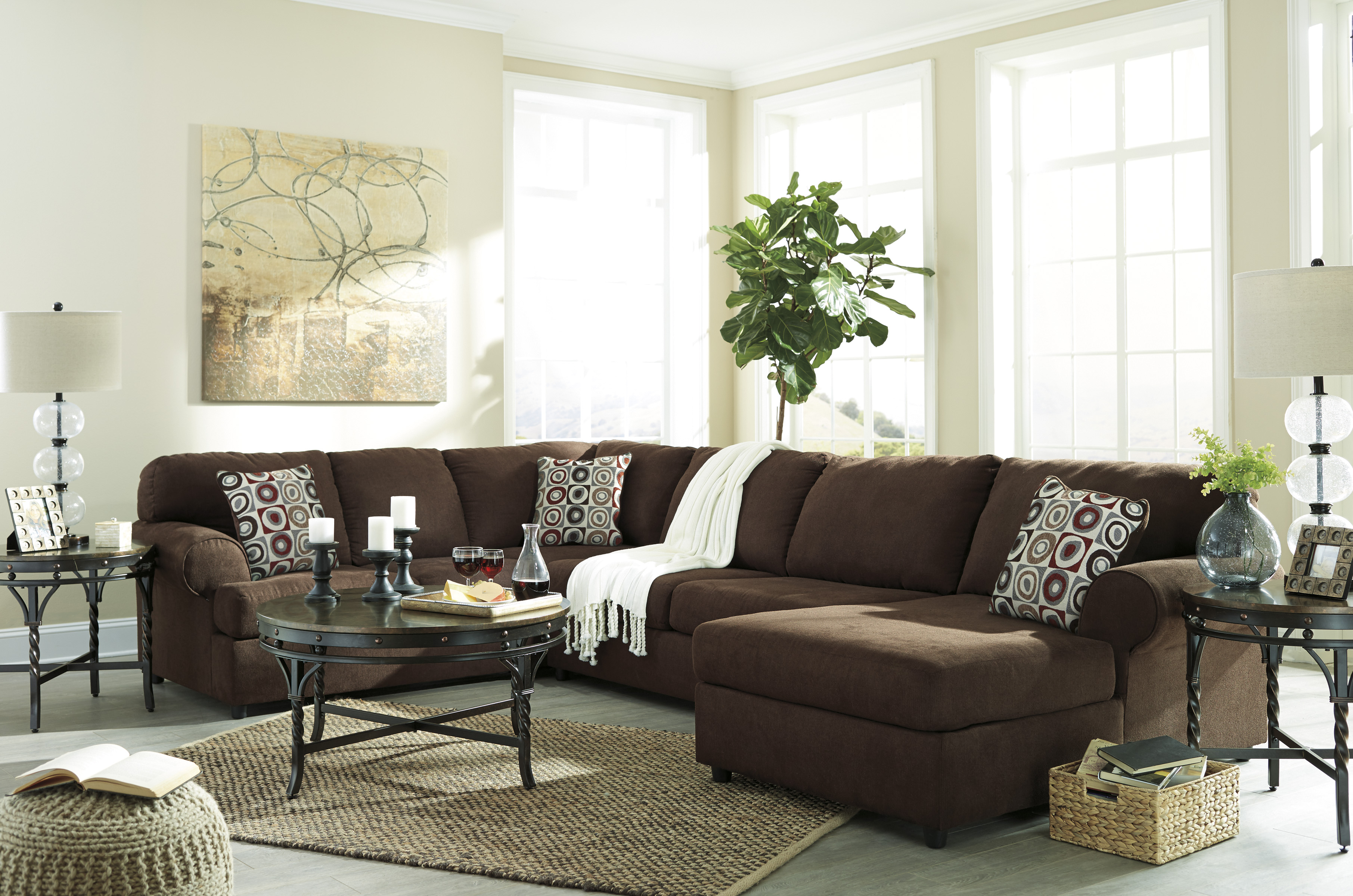 Jayceon Java Sectional with Right or Left Side Chaise with Free