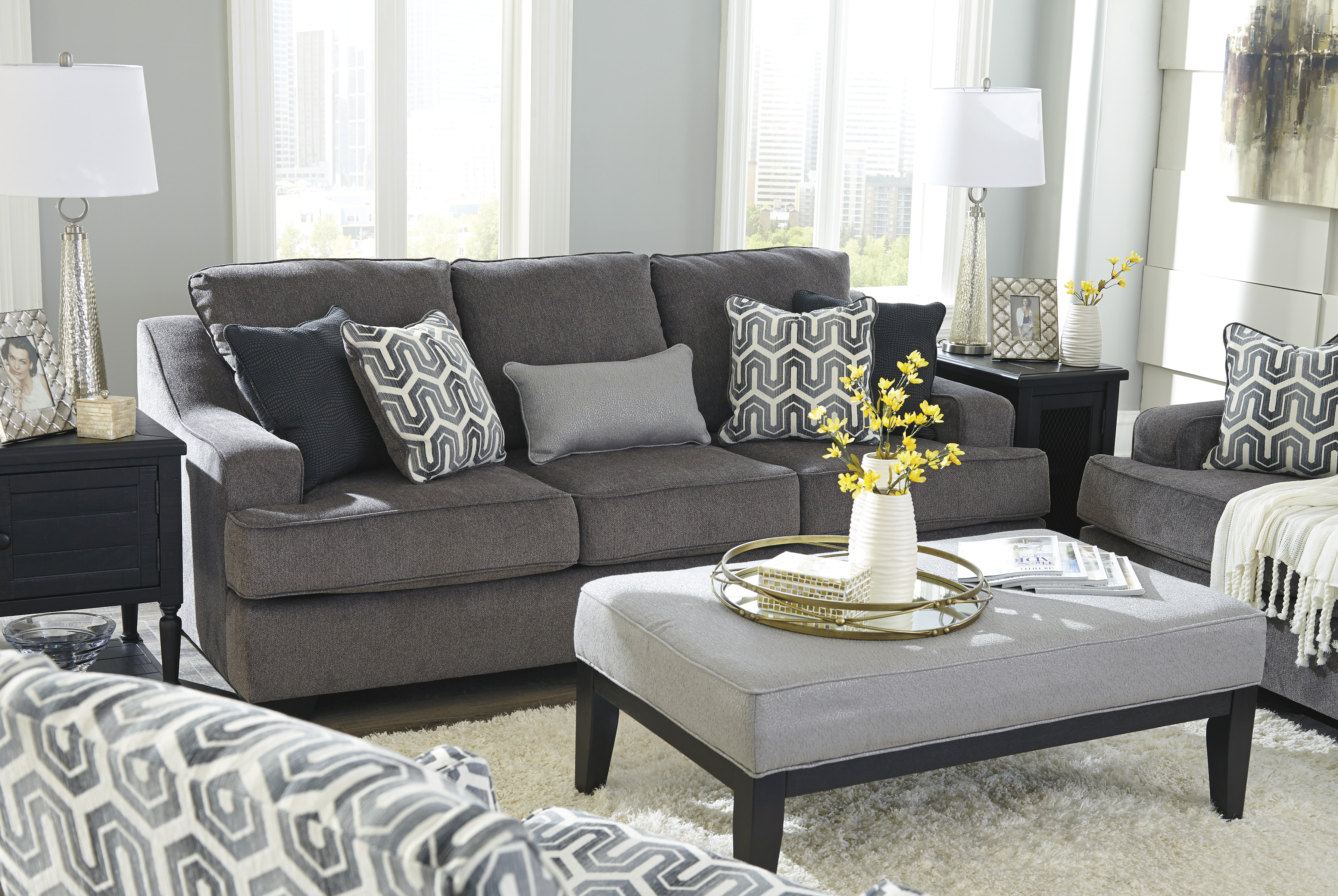 Gilmer Gunmetal Sofa Free Shipping Marjen Of Chicago