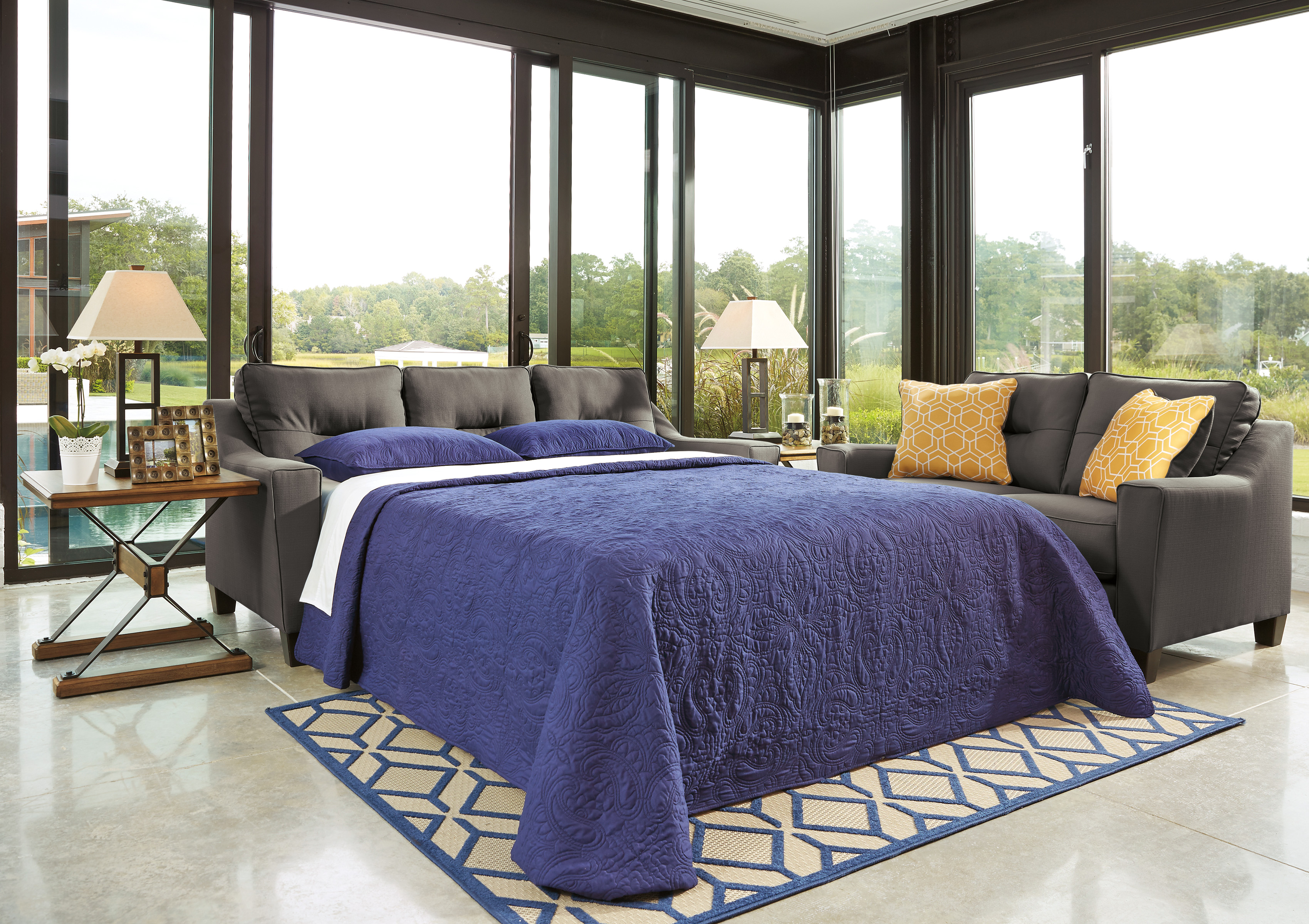 Forsan nuvella gray queen sofa sleeper memory foam mattress