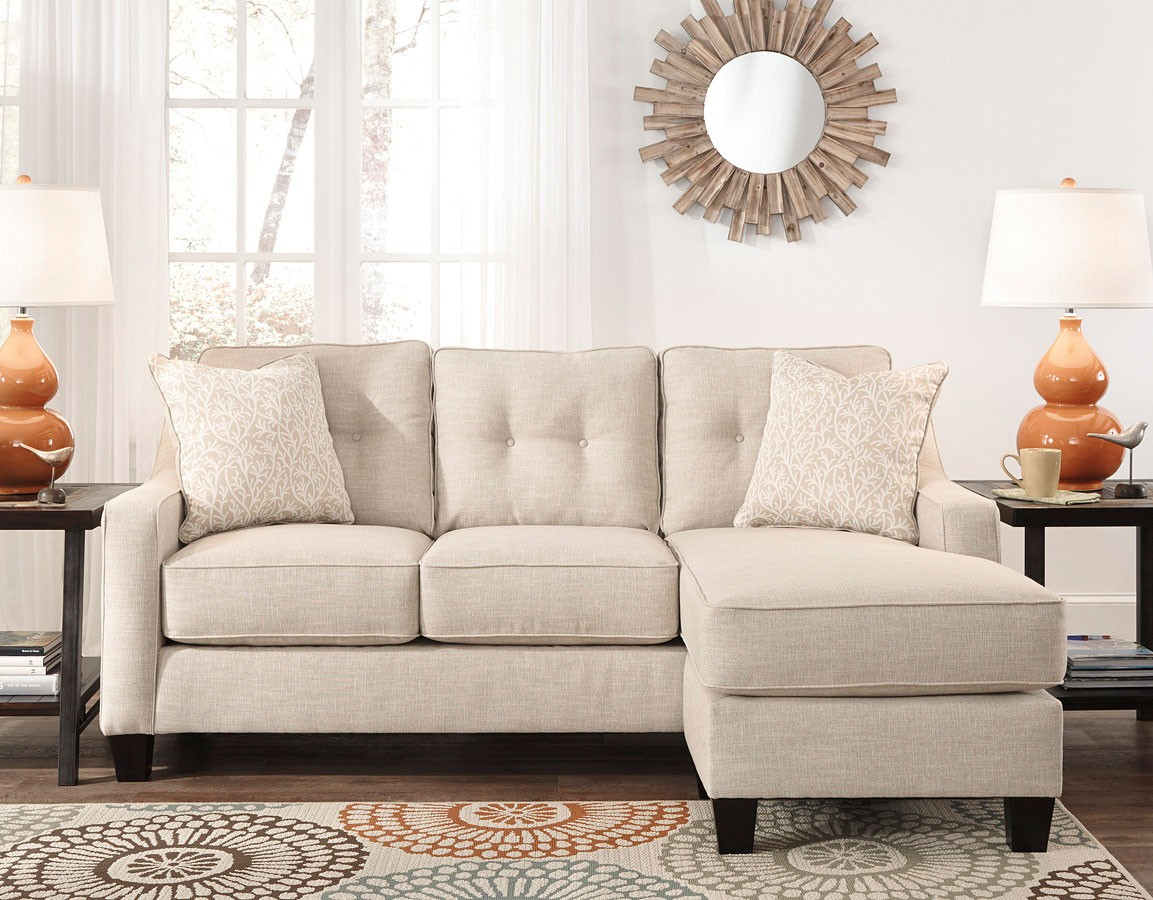 Aldie Nuvella Sand Queen Sofa Chaise Sleeper Features Easy