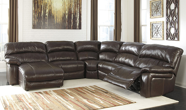 Damacio dark brown leather laf power reclining sectional for Flexsteel 4 piece sectional sofa with right arm facing chaise in brown