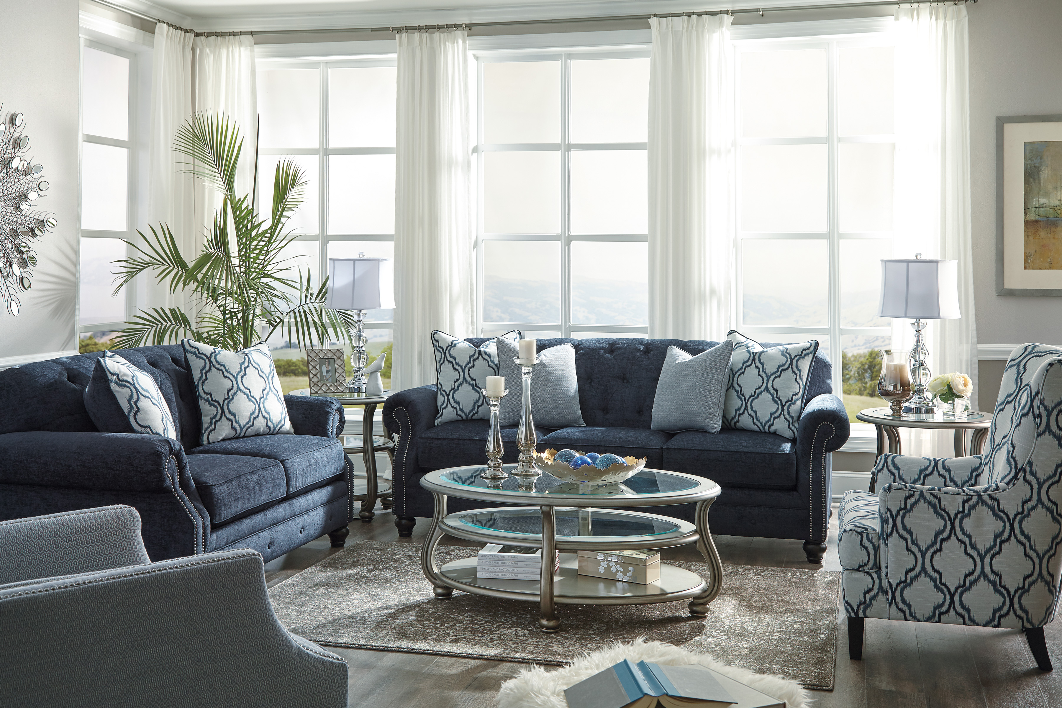 LaVernia Navy Sofa | Marjen of Chicago | Chicago Discount Furniture