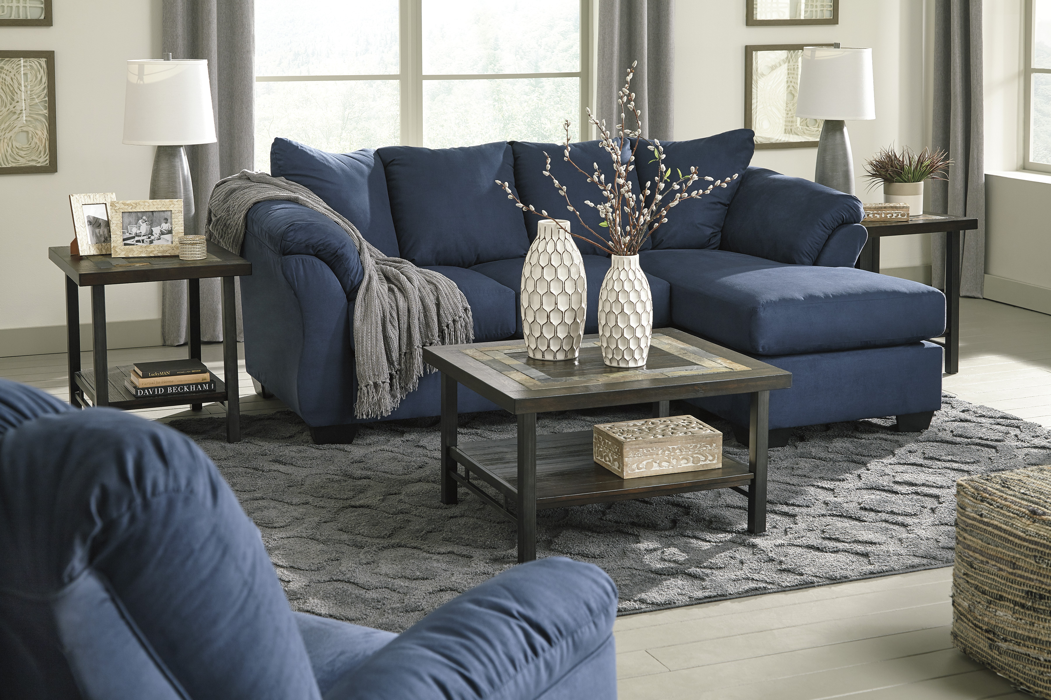Darcy-Blue Sofa Chaise   Marjen of Chicago   Chicago ...