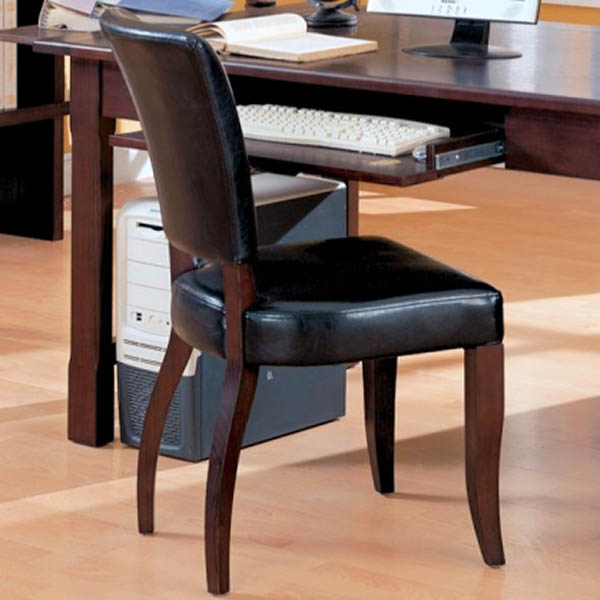 laval desk chair in black faux leather marjen of chicago