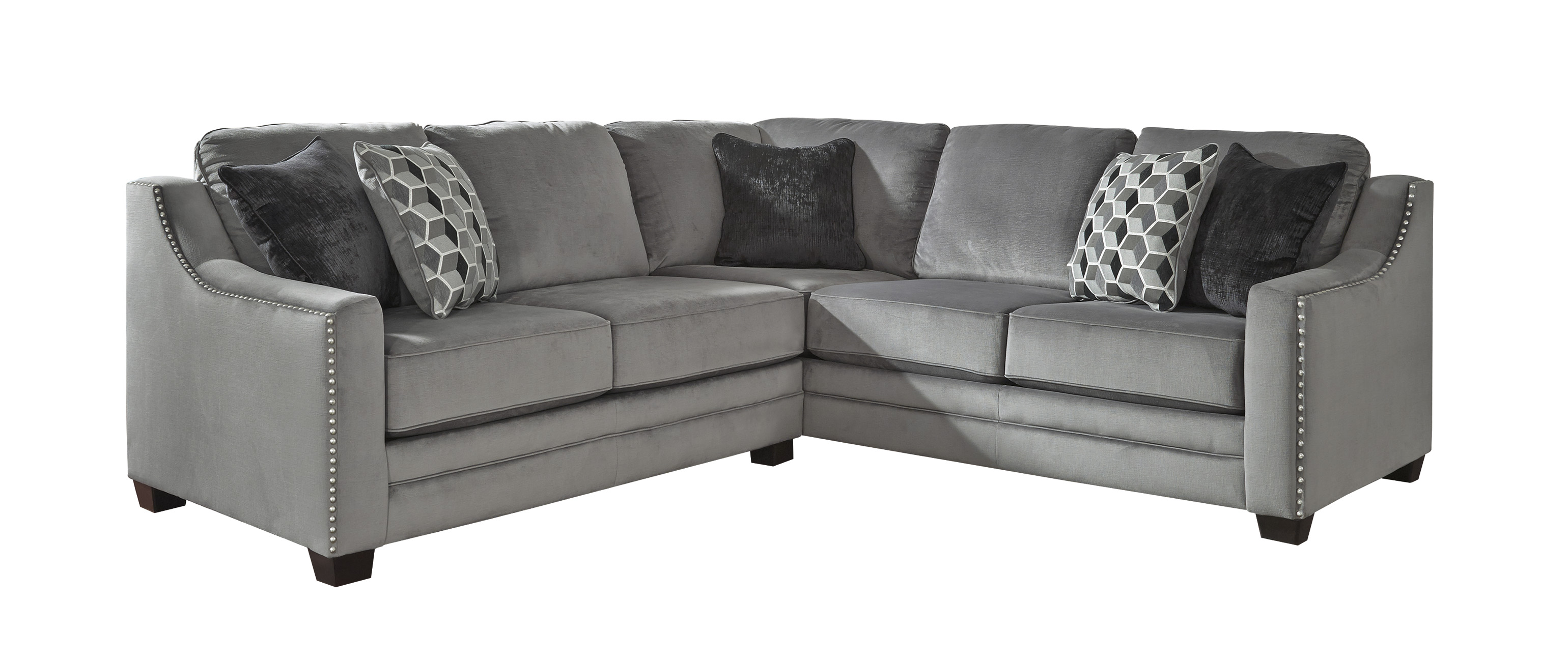 Bicknell Charcoal 2 Pc Sectional Sofa With Left Arm Facing Loveseat Right Corner Wedge And Fabric Upholstery In Color