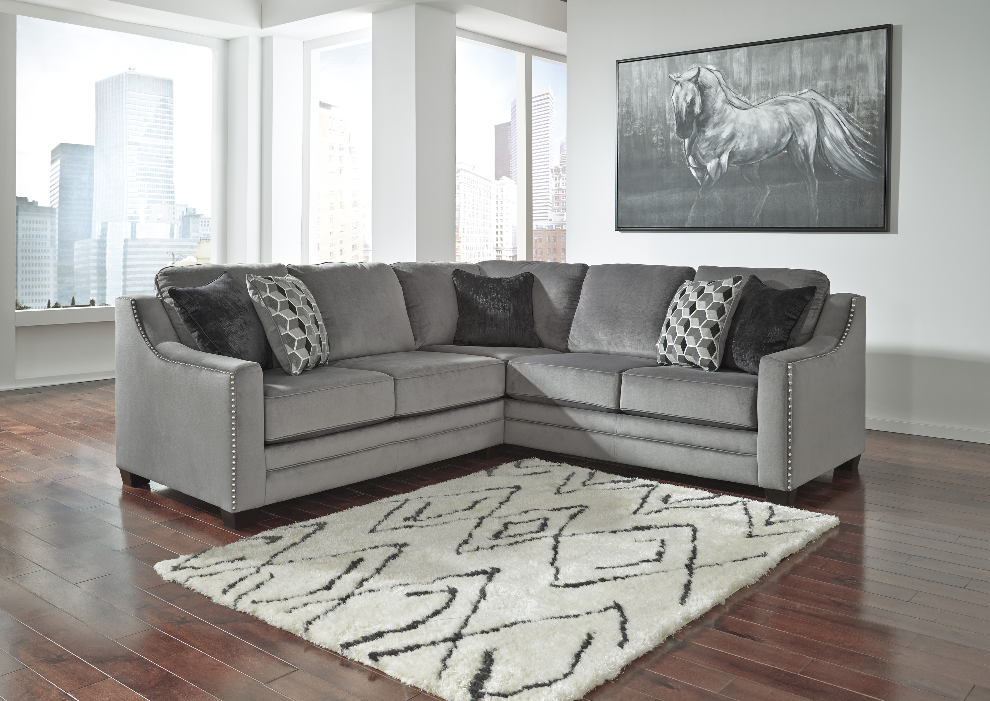 The Bicknell Collection 86204 55 49 2 Pc Sectional Sofa Set Features Corner Wedge Decorative Nail Heads Toss Pillows Loose Seat Cushions And Fabric