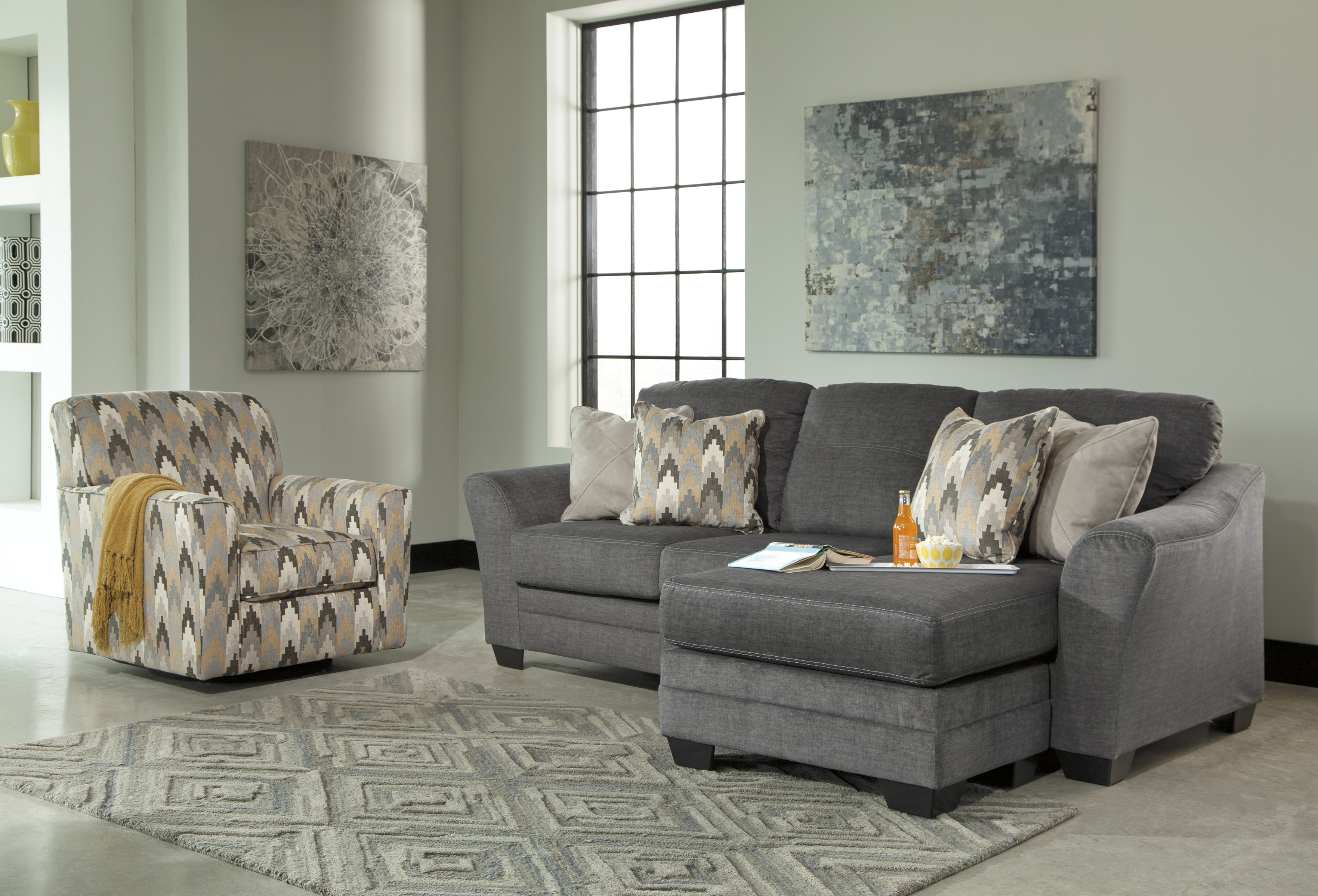 Braxlin Charcoal Sofa With Chaise Marjen Of Chicago