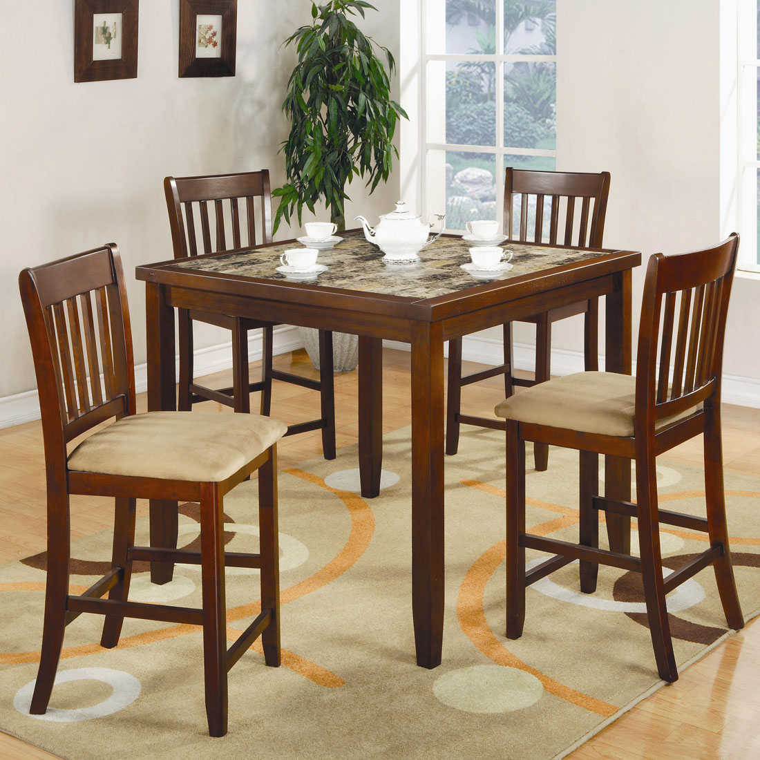 Superb img of Normandie 5 Piece Square Counter Height Dining Set Marjen of Chicago  with #623A1F color and 1100x1100 pixels