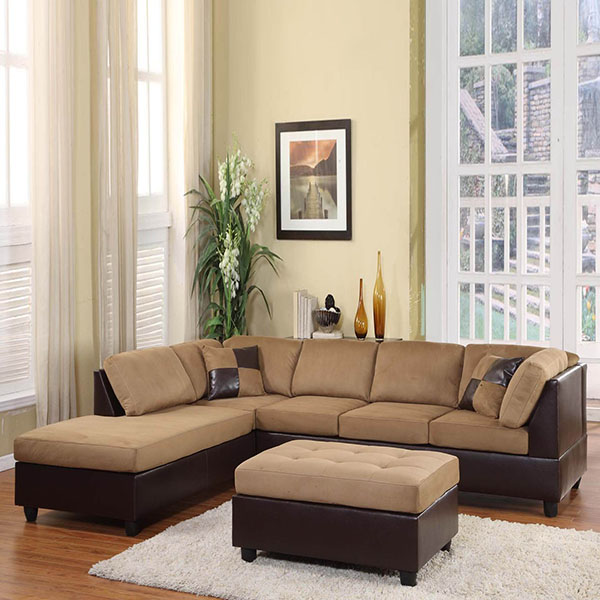 Home Elegance Light Brown Microfiber Sectional Sofa