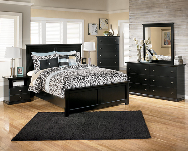 Black Cottage Style Queen Panel Bed