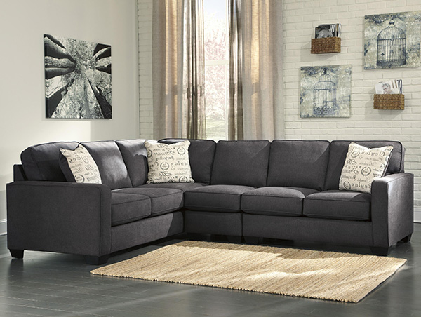 Alenya 3 Piece Corner Sofa Sectional In Charcoal Marjen