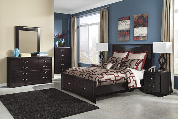 Zanbury Merlot Finish Contemporary Bedroom Set Marjen Of Chicago Chicago Discount Furniture