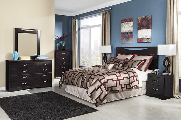 Zanbury Merlot Finish Contemporary Bedroom Set Marjen Of