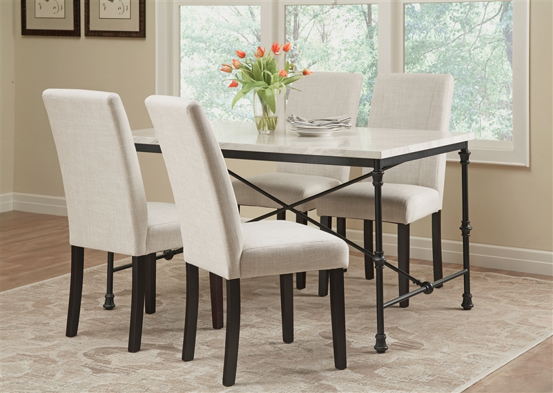 Industrial, Rustic And Durable, This 5 Piece Table Set Represents The  Perfect Centerpiece For The Modern Dining Room. Crafted From A Faux Marble  Top And ...