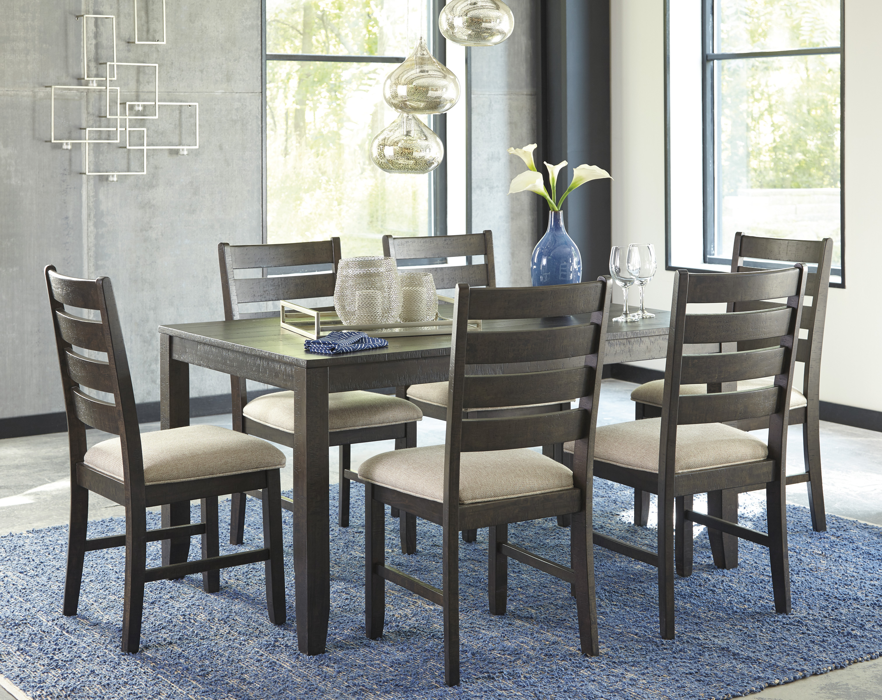 discount dining room furniture sets | ROKANE CASUAL 7 PC. DINING TABLE SET WITH SIX CHAIRS ...