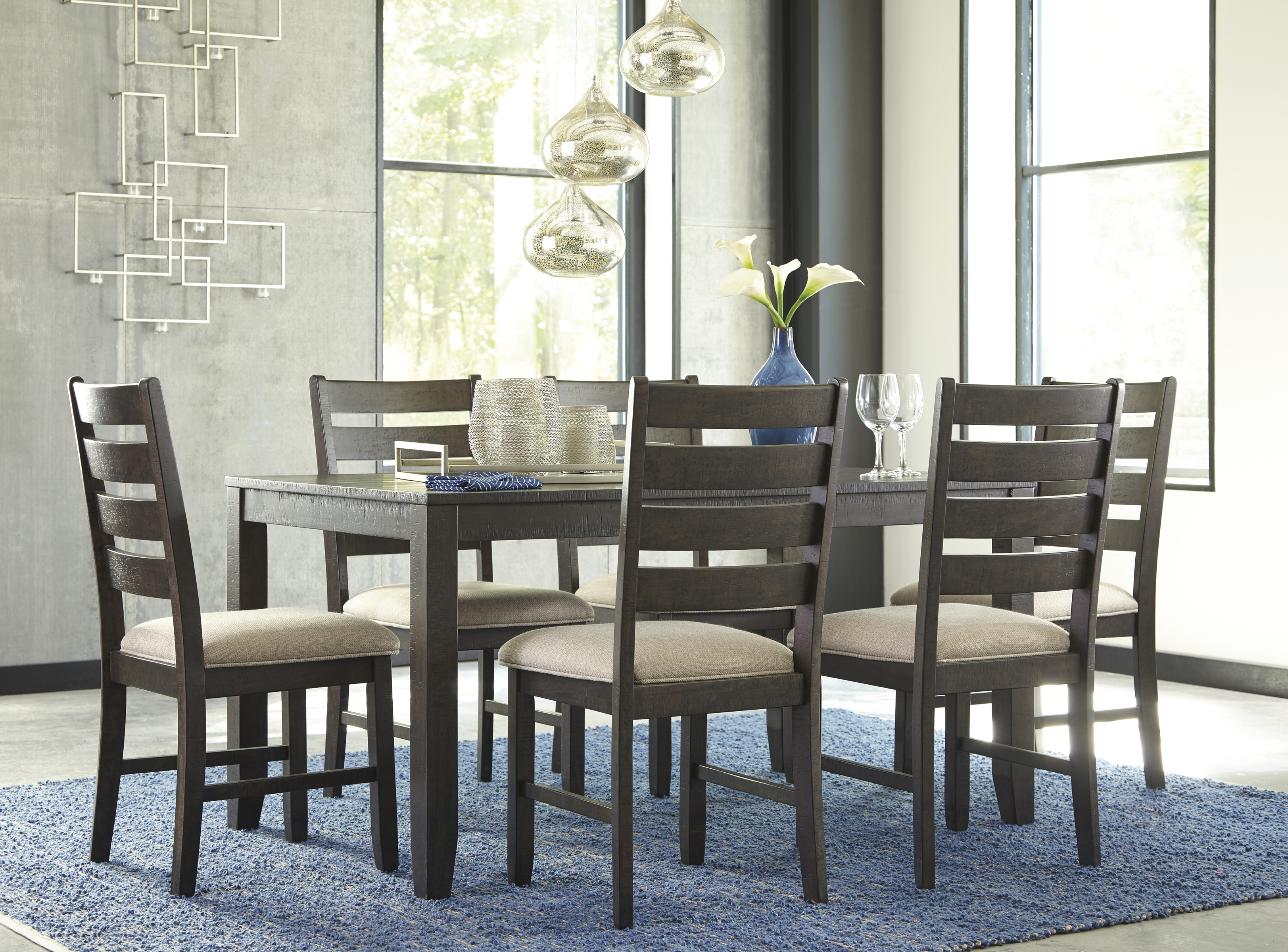 Rokane Casual 7 Pc Dining Table Set With Six Chairs