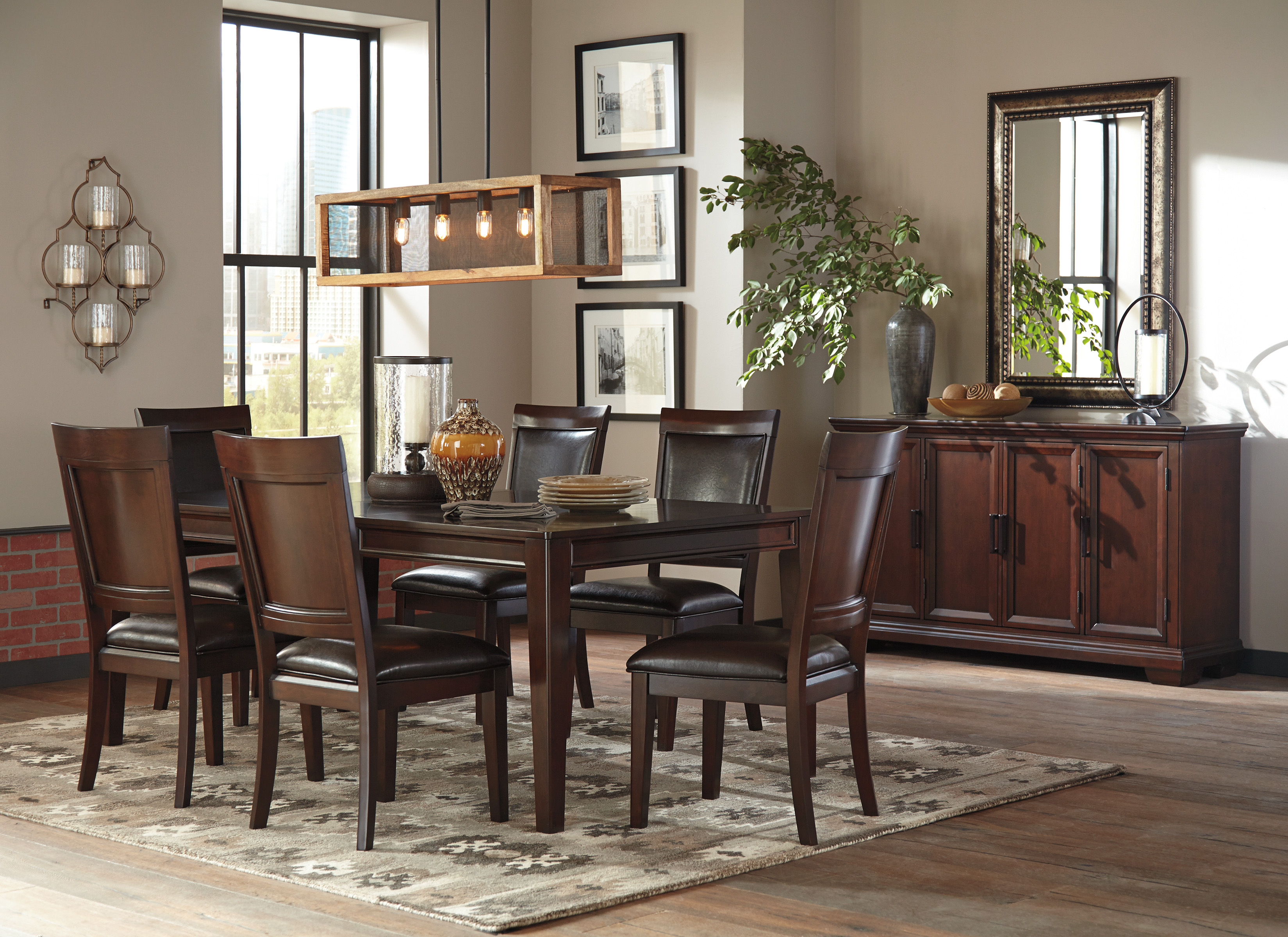 ashley shadyn 7 piece casual dining room set in a warm brown finish w removable 18 extension. Black Bedroom Furniture Sets. Home Design Ideas