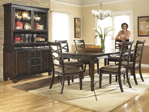 Hayley Contemporary Rectangular Dining Table with 8 Side ...