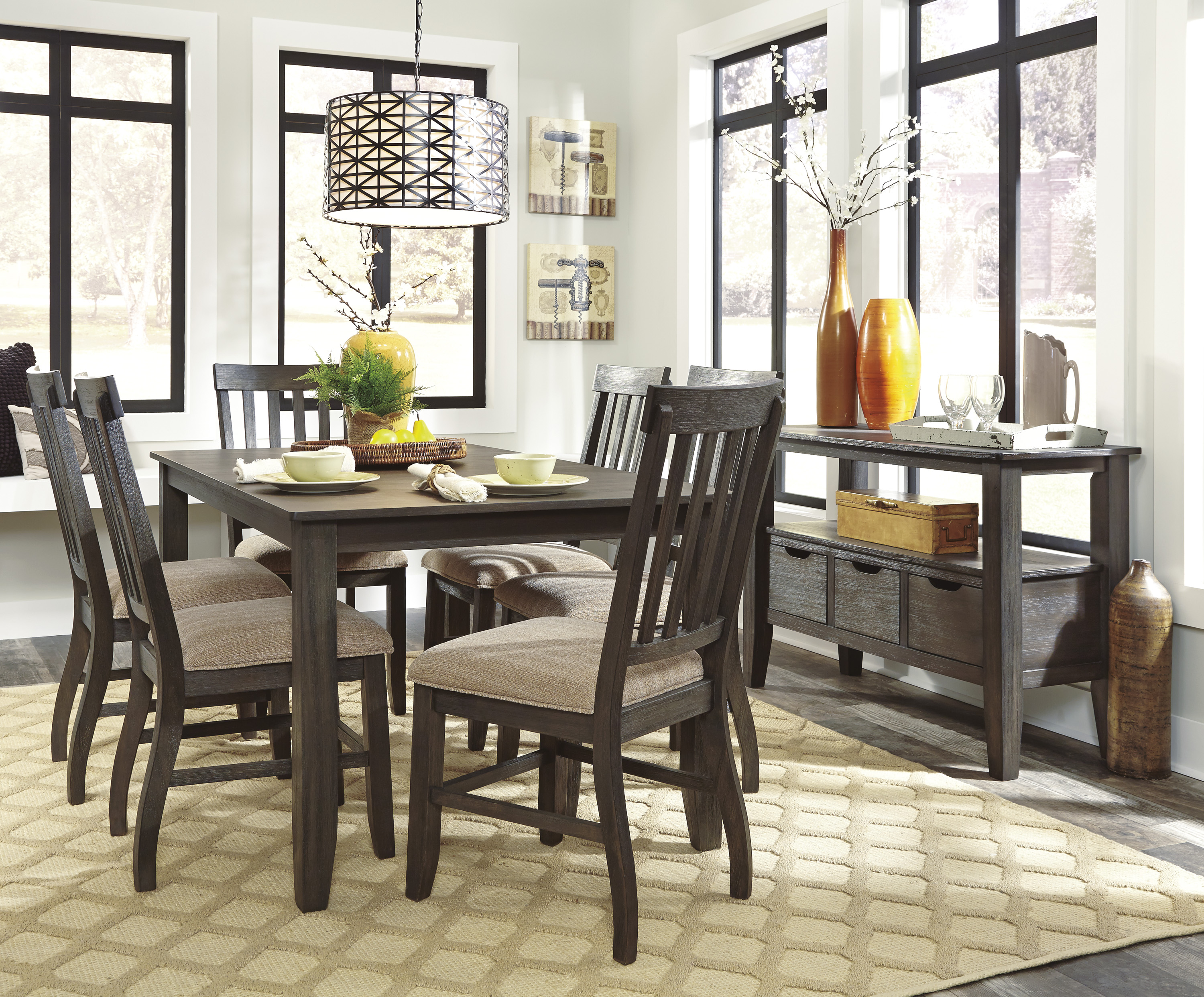 Dresbar Urbanology Grayish Brown 7pc Rectangle Dining Room